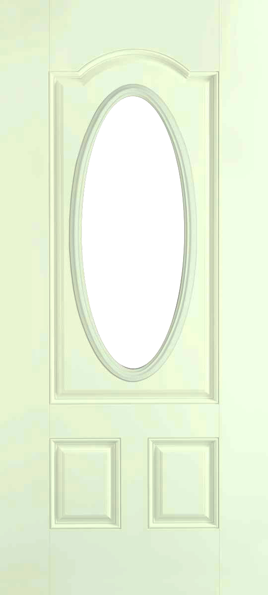 smooth fiberglass insulated exterior door 3 panel archtop threequarter lite oval